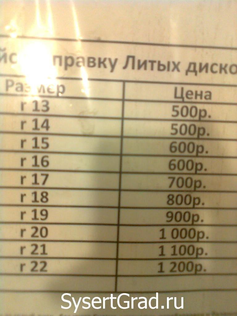 Цены на правку литых дисков в Сысерти улица Тимирязева, 41а