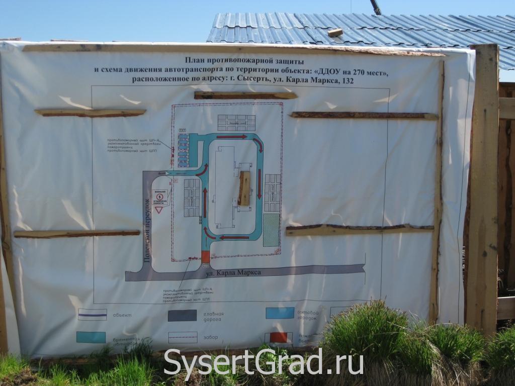 План противопожарной защиты нового садика в Сысерти по Карла Маркса, 132