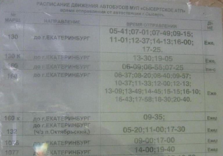 Расписание автобусов от Сысерти до Екатеринбурга