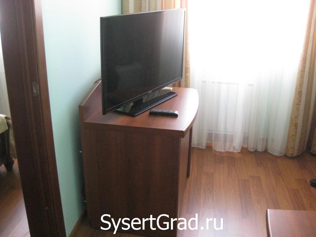 Televizor v nomere ljuks restoranno-gostinichnogo kompleksa «Smirnov»