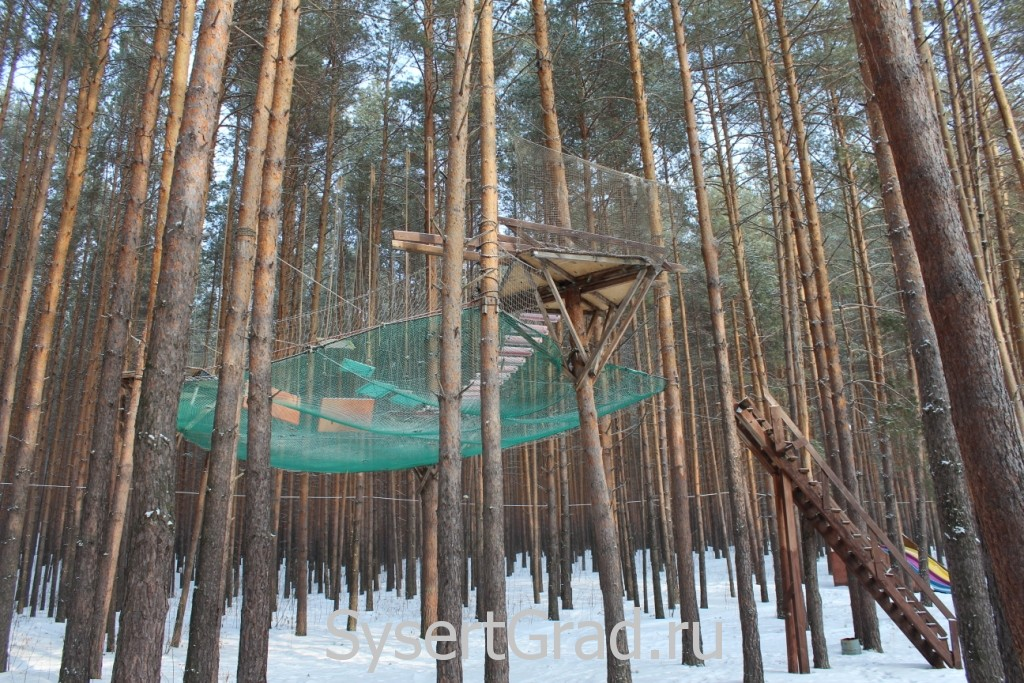 Аттракцион на деревьях на базе отдыха в Кашино
