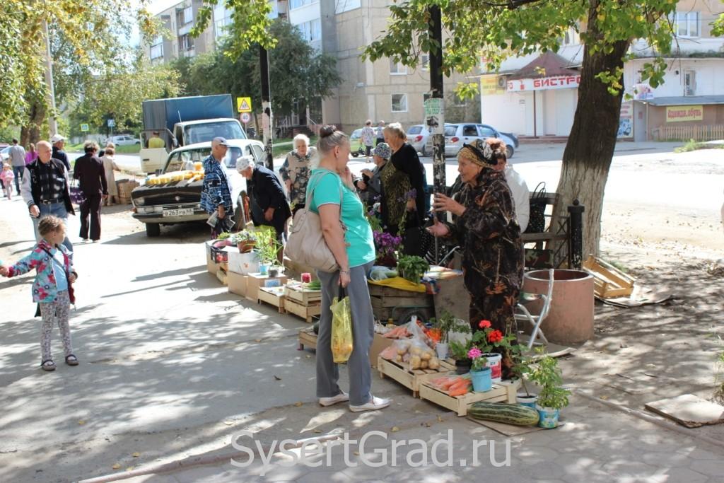 Бабушки Сысерти продают продукты с огорода в центре города