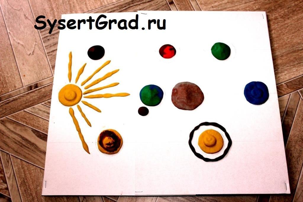 Макет солнечной системы своими руками из картона и пластилина.
