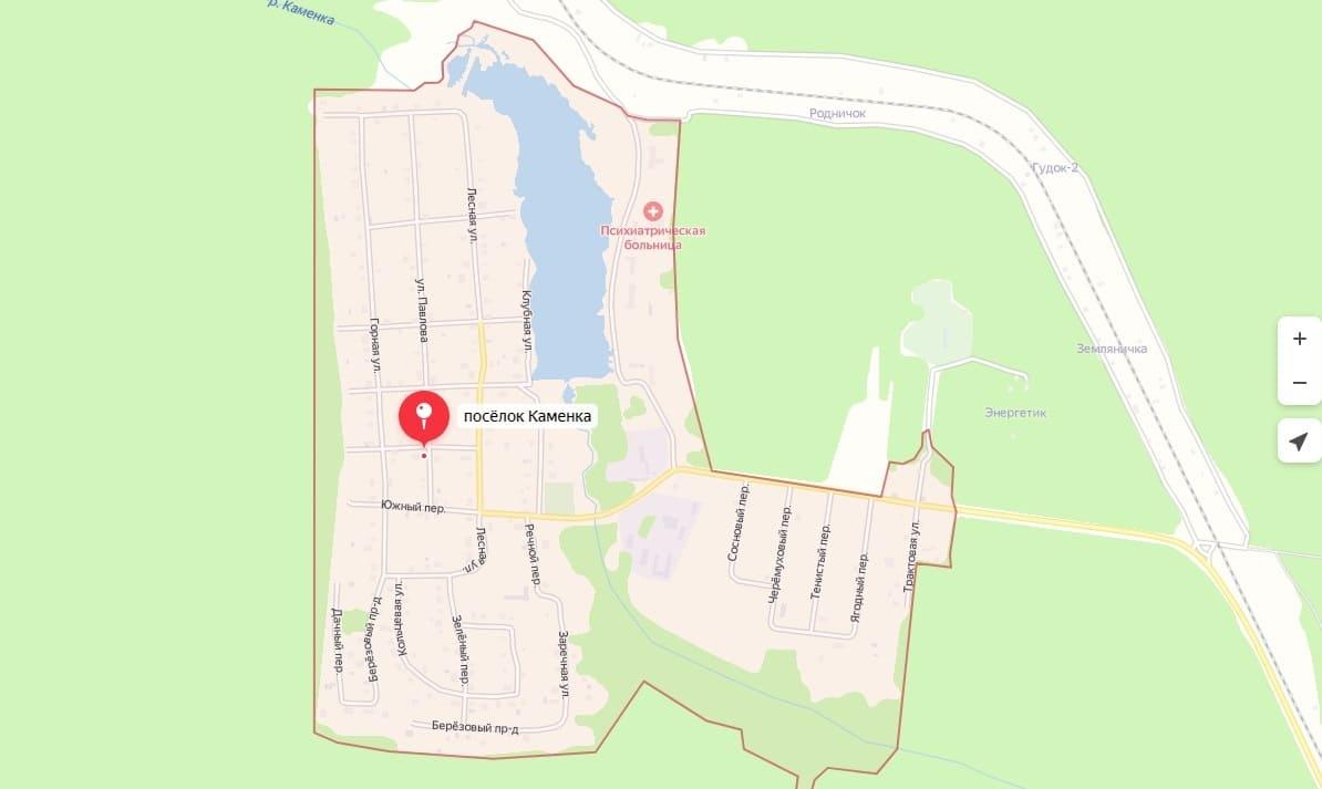 На карте поселок Каменка